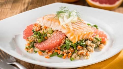 lead-roast-salmon-with-fennel-grapefruit-quinoa-and-sesame-brittle